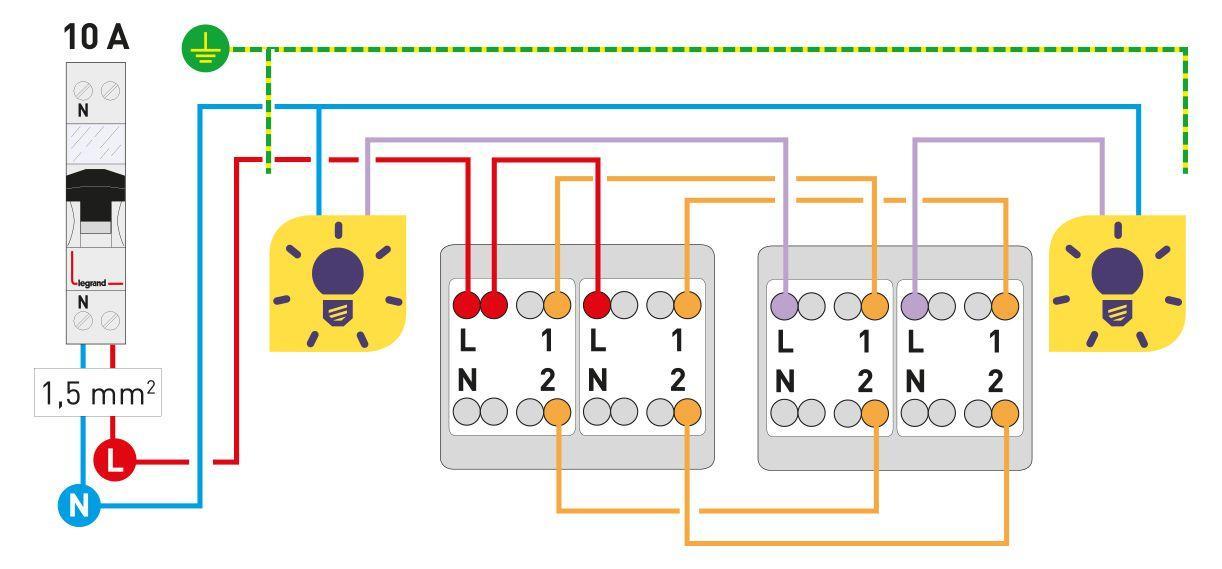 branchement interrupteur double schema electrique. Black Bedroom Furniture Sets. Home Design Ideas