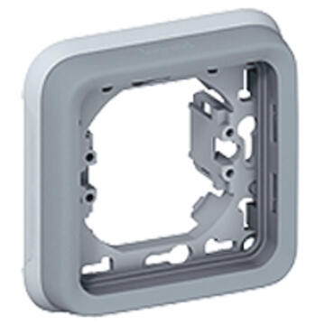 Support plaque étanche 1 poste Plexo composable IP55 - gris