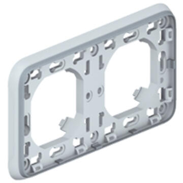 Support plaque étanche 2 postes horizontaux Plexo composable IP55 - gris