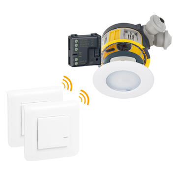 Kit 3 spots à LED dimmable IP44 Modul'up complet + 1 micromodule + 2 commandes Mosaic sans fil - blanc