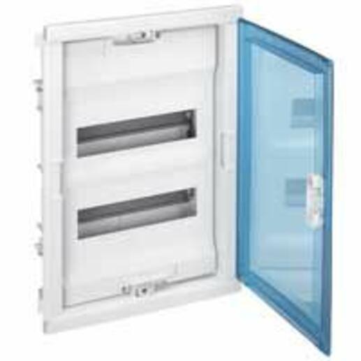 Coffret modulaire encastré 2 rangées 24+4 modules - avec porte isolante galbée transparente