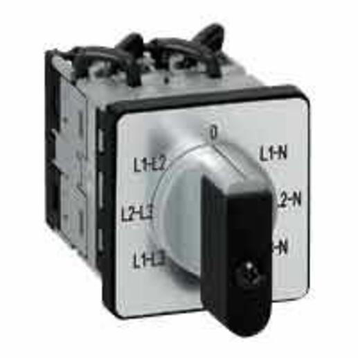 Commutateur à cames de mesure voltmètre avec neutre PR12 - 6 contacts - fixation par vis sur porte