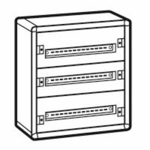 Coffret distribution métal XL³160 tout modulaire 3 rangées 600x575x147mm - 72 modules