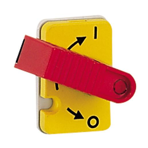 Interrupteur-sectionneur Vistop 32A - 3P avec commande frontale et poignée rouge - plastron jaune