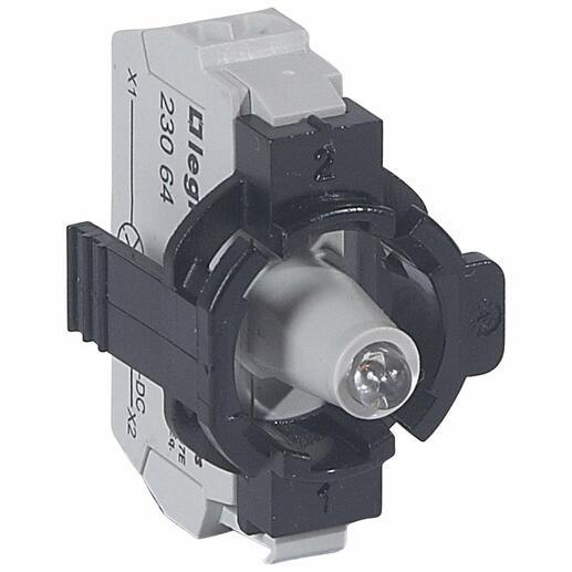Sous-ensemble bloc pour voyant lumineux Osmoz raccordement par borne ressort - 12V à 24V alternatif ou continu - jaune