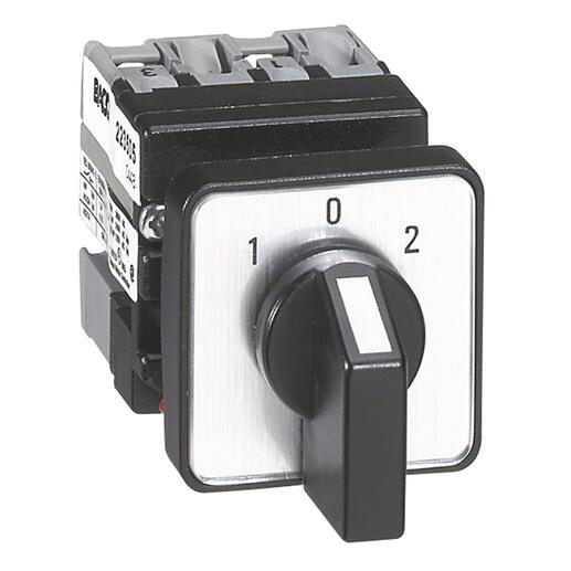 Mini-commutateur à cames inverseur avec position arrêt 45° - 3P - 6 contacts -fixation centrale Ø22 sur porte