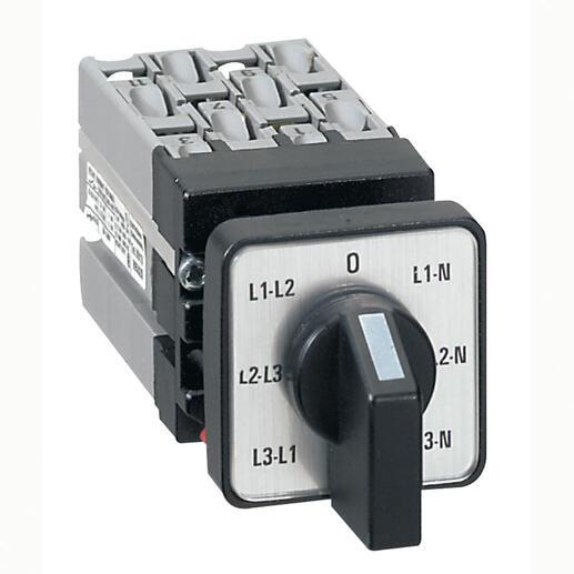 Mini commutateur à cames de mesure de voltmètre avec neutre - 6 contacts - fixation centrale Ø22 sur porte