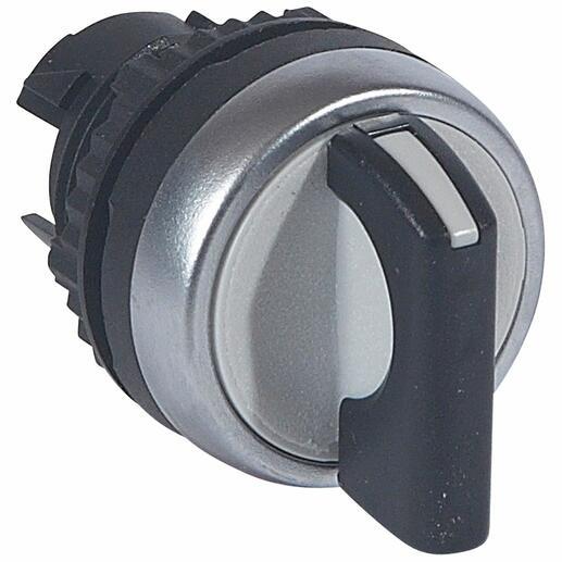 Bouton tournant non lumineux à manette noire IP69 Osmoz composable - 2 positions fixes 90° ( 0 à 12h )