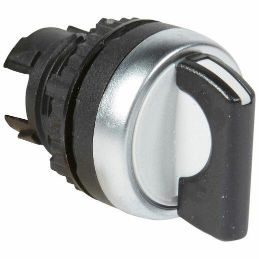 Bouton tournant non lumineux à manette noire IP69 Osmoz composable - 3 positions droite et gauche rappel au centre 45°