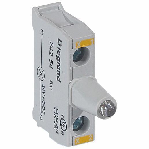 Bloc lumineux LEDs Osmoz pour boîte à boutons - raccordement à vis - 12V à 24V alternatif ou continu - jaune