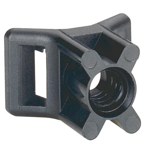 Embase noire protégée ultraviolets à visser fixable par cheville référence 031957 ou goujon Ø5mm ou vis fraisée Ø5mm
