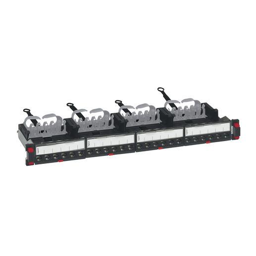 Panneau de brassage droit 19pouces 1U LCS³ catégorie6A équipé de 24 connecteurs RJ45 STP
