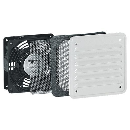 Ventilateur avec ouïe métal débit 30m³/h avec filtre et 160m³/h soufflage libre - IP32 IK10 - RAL7035