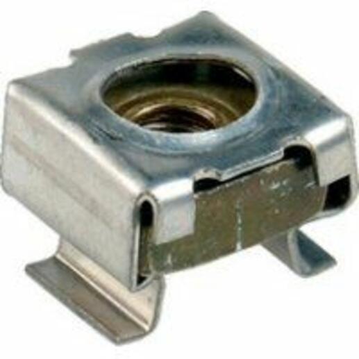 Ecrou cage M4 pour fixation apparaillage - montage sur perforation carrée 8,3x8,3mm