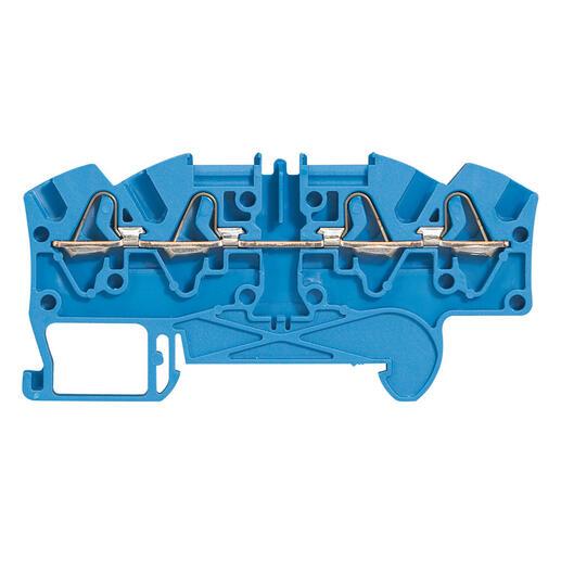 Bloc de jonction de passage à ressort Viking3 avec 1 jonction 4 conducteurs 2 entrées 2 sorties - pas 5mm - bleu
