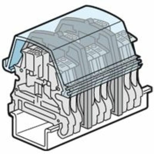 Ecran de protection à couper pour bloc de jonction à vis Viking3 avec 1 entrée 1 sortie pas 5mm à 10mm