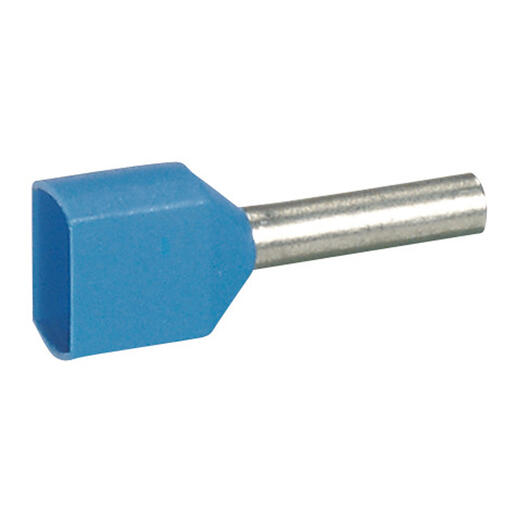 Embout de câblage à collerette isolante Starfix double unitaire pour conducteurs section 2x0,75mm² - bleu
