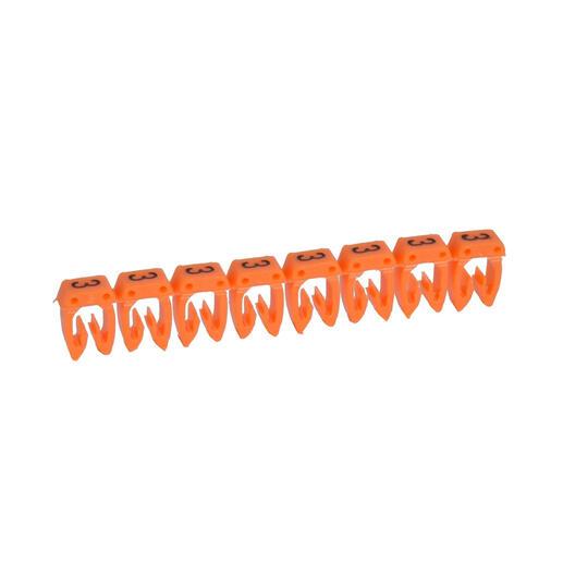 Repère CAB 3 pour filerie 4mm² à 6mm² avec chiffre 3 orange