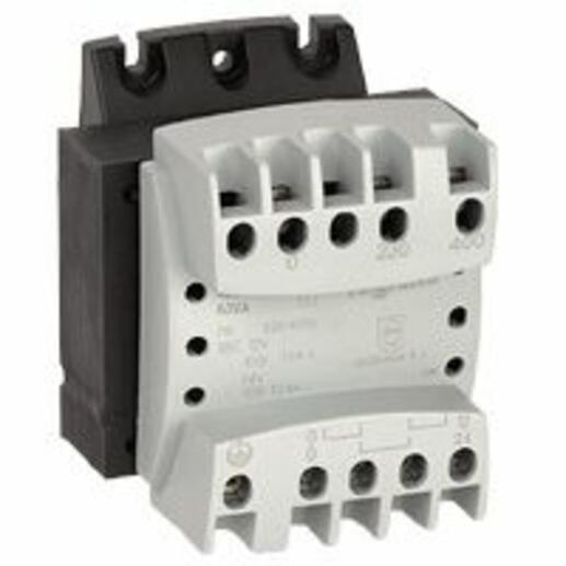 Transformateur de sécurité primaire 230V à 400V et secondaire 12V~ à 24V~ - 63VA