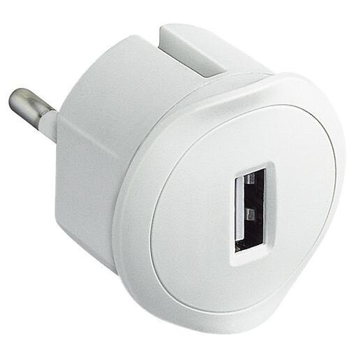 Chargeur USB 5V 1,5A maximum avec fiche 2P 10A et encombrement réduit - blanc