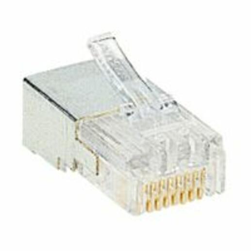 Fiche RJ45 catégorie5e 8 contacts largeur 11,7mm pour câble rond