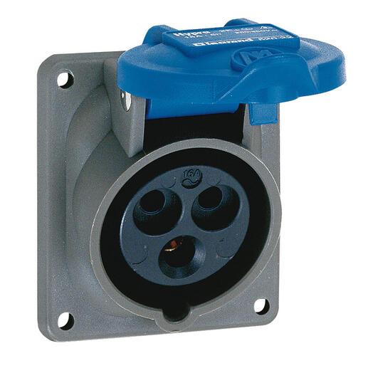 Prise fixe Hypra IP44 16A - 200V~ à 250V~ - 2P+T - plastique