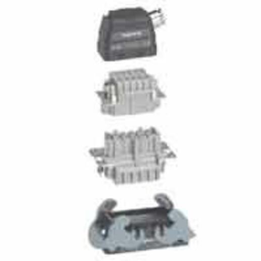 Kit de connecteurs multipôles encastré sortie latérale connexion automatique Hypra 500V 16A 16P+T