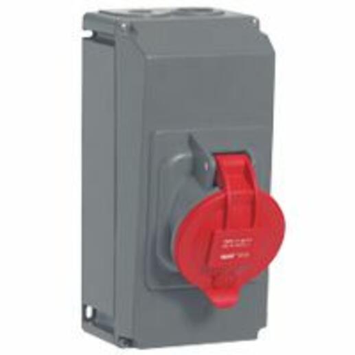 Prise saillie fixe Hypra IP44 63A - 380V~ à 415V~ - 3P+N+T - plastique