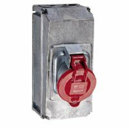 Prise saillie fixe Hypra IP44 63A - 380V~ à 415V~ - 3P+N+T - métal