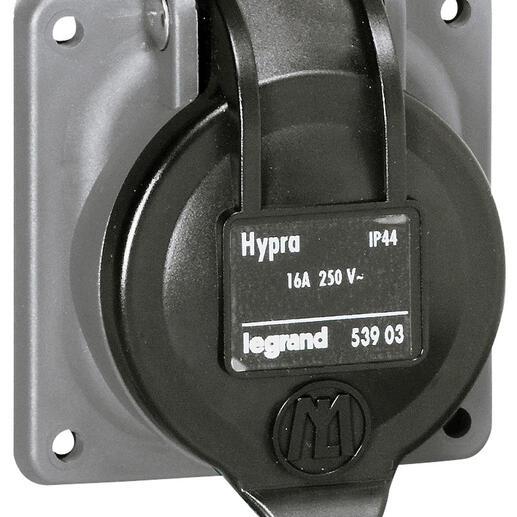 Prise de courant fixe 2P+T à brochage domestique Hypra IP44 - 250V~ - plastique