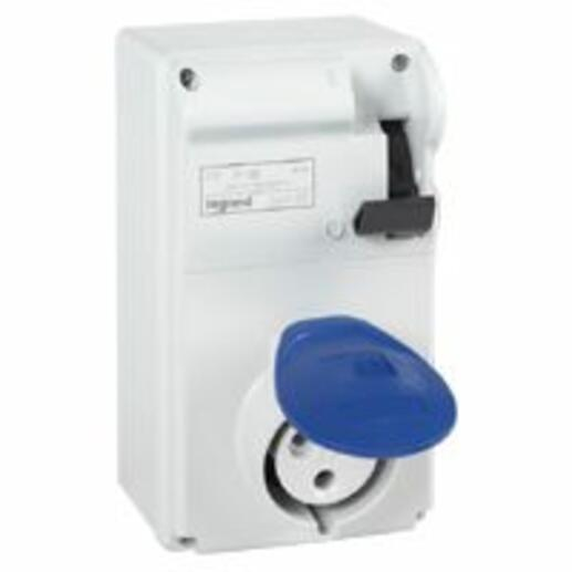 Coffret P17 IP44 avec interrupteur et 1 prise 32A 2P+T - 200V~ à 250V~ - 50Hz à 60Hz