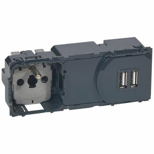 Prise de courant et chargeur double USB Type-A 3A précâblées Céliane