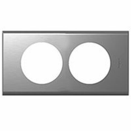 Plaque Céliane Matières 2 postes pour rénovation entraxe 57mm - finition Inox Brossé