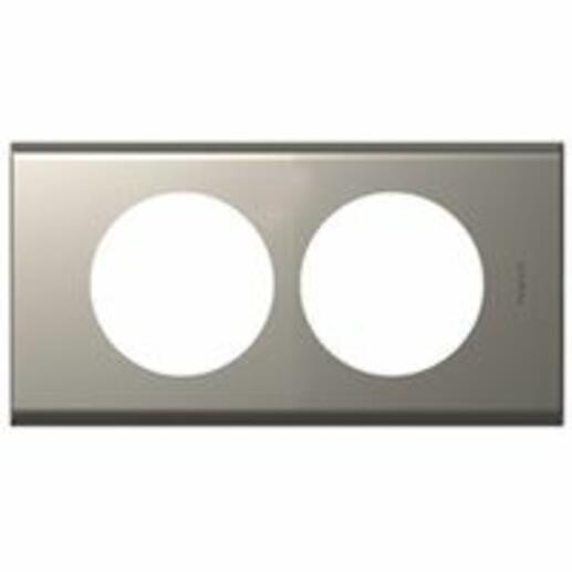 Plaque Céliane Matières 2 postes pour rénovation entraxe 57mm - finition Nickel Velours