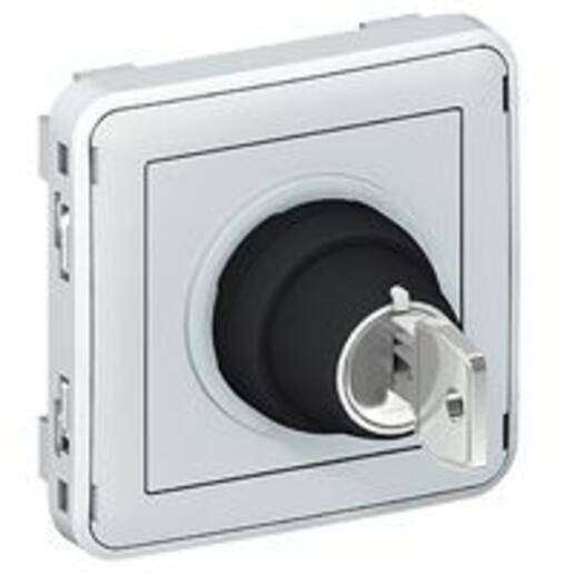 Interrupteur à clé Ronis n°455 2 positions Plexo composable IP55 3A 250V - gris