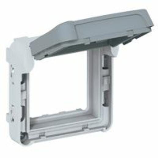 Adaptateur opaque Plexo composable IP55 pour fonction Mosaic 2 modules - gris et blanc
