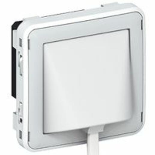 Détecteur d'élévation de température étanche Plexo composable IP41 - gris et blanc