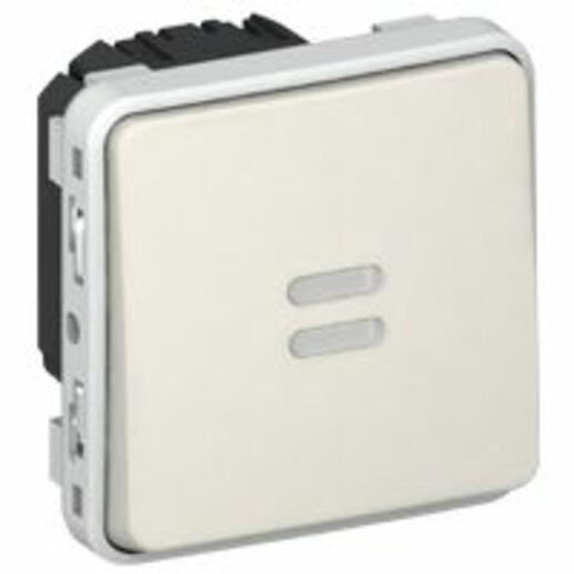 Interrupteur temporisé lumineux Plexo composable IP55 230V 50Hz ou 60Hz - blanc