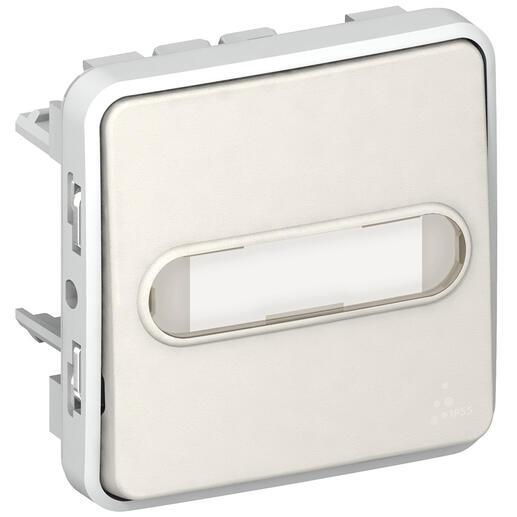 Poussoir inverseur étanche NO+NF lumineux avec porte-étiquette Plexo composable IP55 10A - blanc