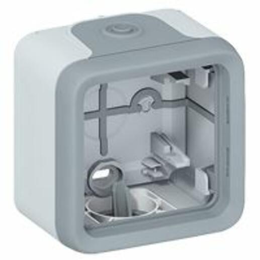 Boîtier étanche Plexo 1 poste pour montage en saillie - gris