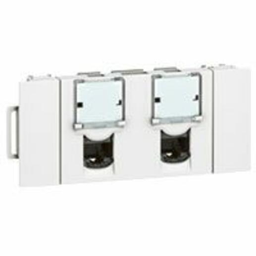 Double prise RJ45 catégorie5e FTP spéciale goulotte à clippage direct Mosaic 3 modules - blanc