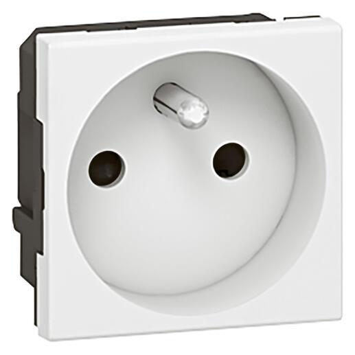 Prise de courant 2P+T spécial repiquage et 4mm² Mosaic 2 modules avec connexion par bornes à vis - blanc