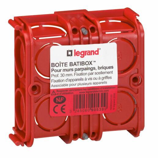 Boîte à encastrer carrée Batibox maçonnerie - 1 poste profondeur 30mm