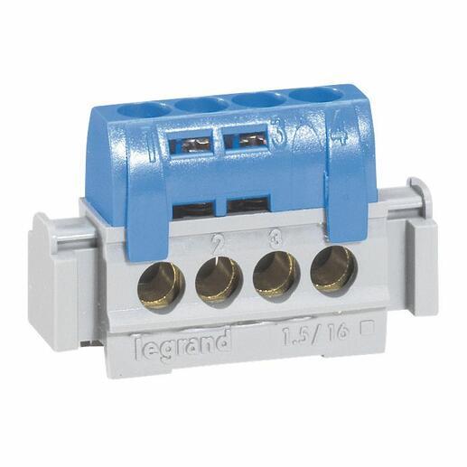 Bornier de neutre - 4 bornes pour câble 1,5 à 16 mm² - bleu