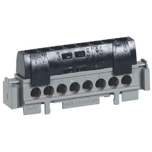 Bornier de phase - 8 bornes pour câble 1,5mm² à 16mm² - noir
