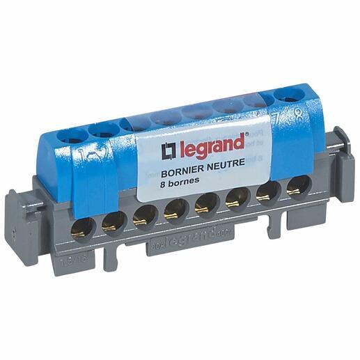 Bornier de neutre - 8 bornes pour câble 1,5mm² à 16mm² - bleu