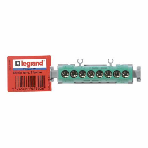 Bornier de terre - 8 bornes pour câble 1,5mm² à 16mm² - vert