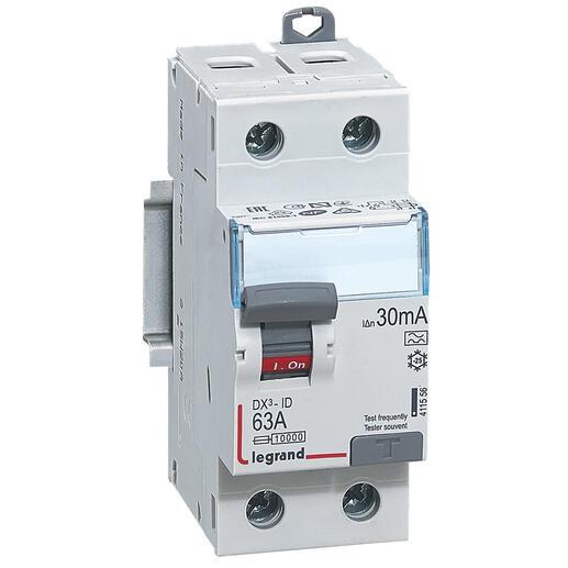 Interrupteur différentiel bipolaire - type A 30mA arrivée haut/départ bas 63A