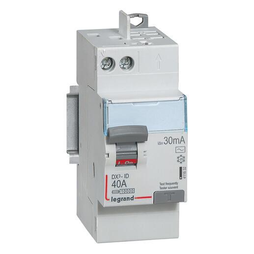 Interrupteur differentiel bipolaire - type AC 30mA arrivée haut/départ haut 40A