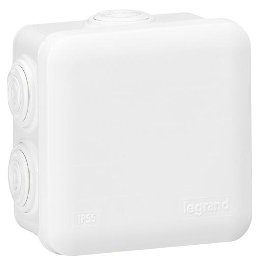 Boîte de dérivation carrée - 80x80x45 mm - fermeture par enclipsage - blanc